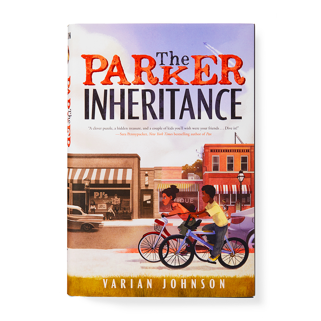 The Parker Inheritance book two children riding bicycles