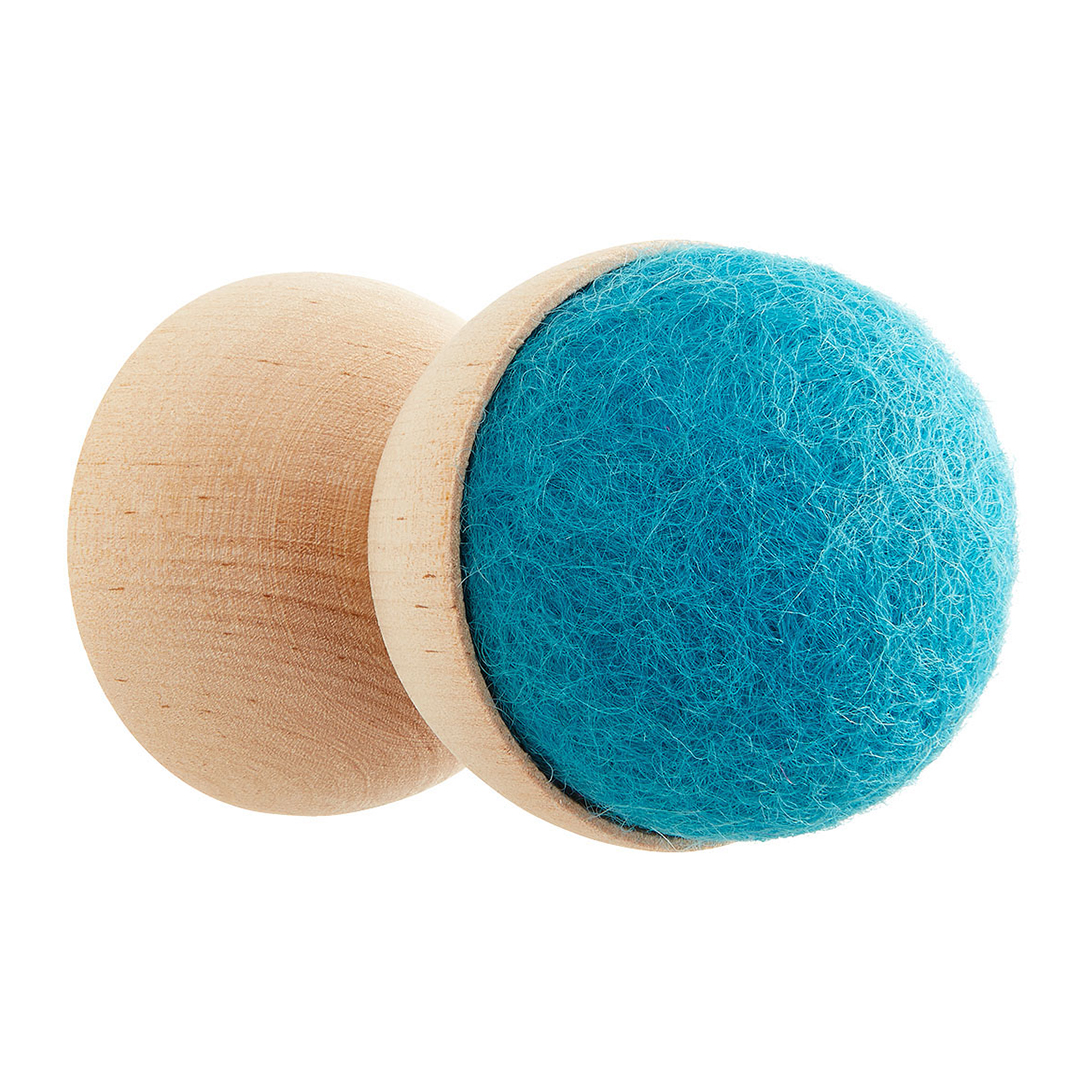 wool ball in wooden hook