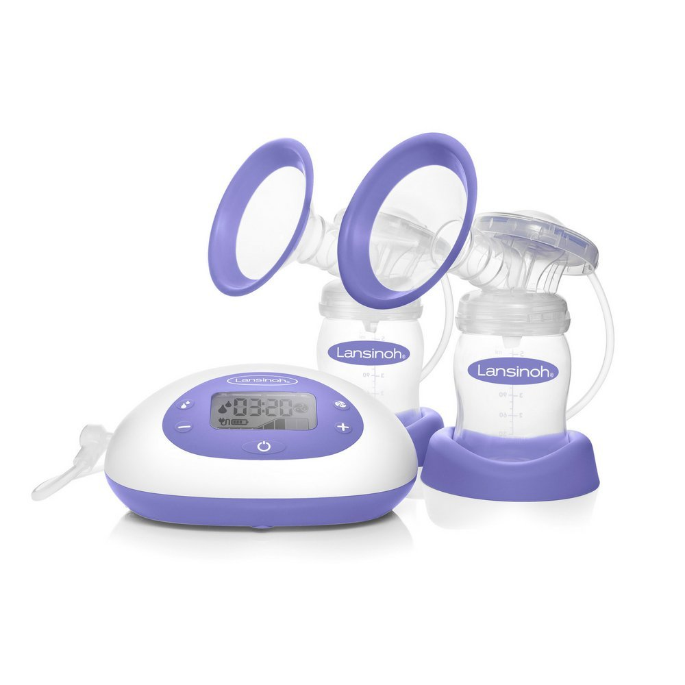 Signature Pro by Lansinoh Double Electric Breast Pump with LCD Screen, Portable Breast Pump with Adjustable Suction & Pumping Levels for Mom's Comfort