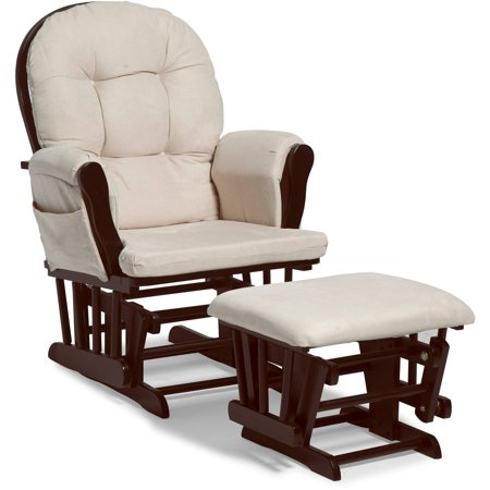 Storkcraft Bowback Glider and Ottoman Espresso with Beige