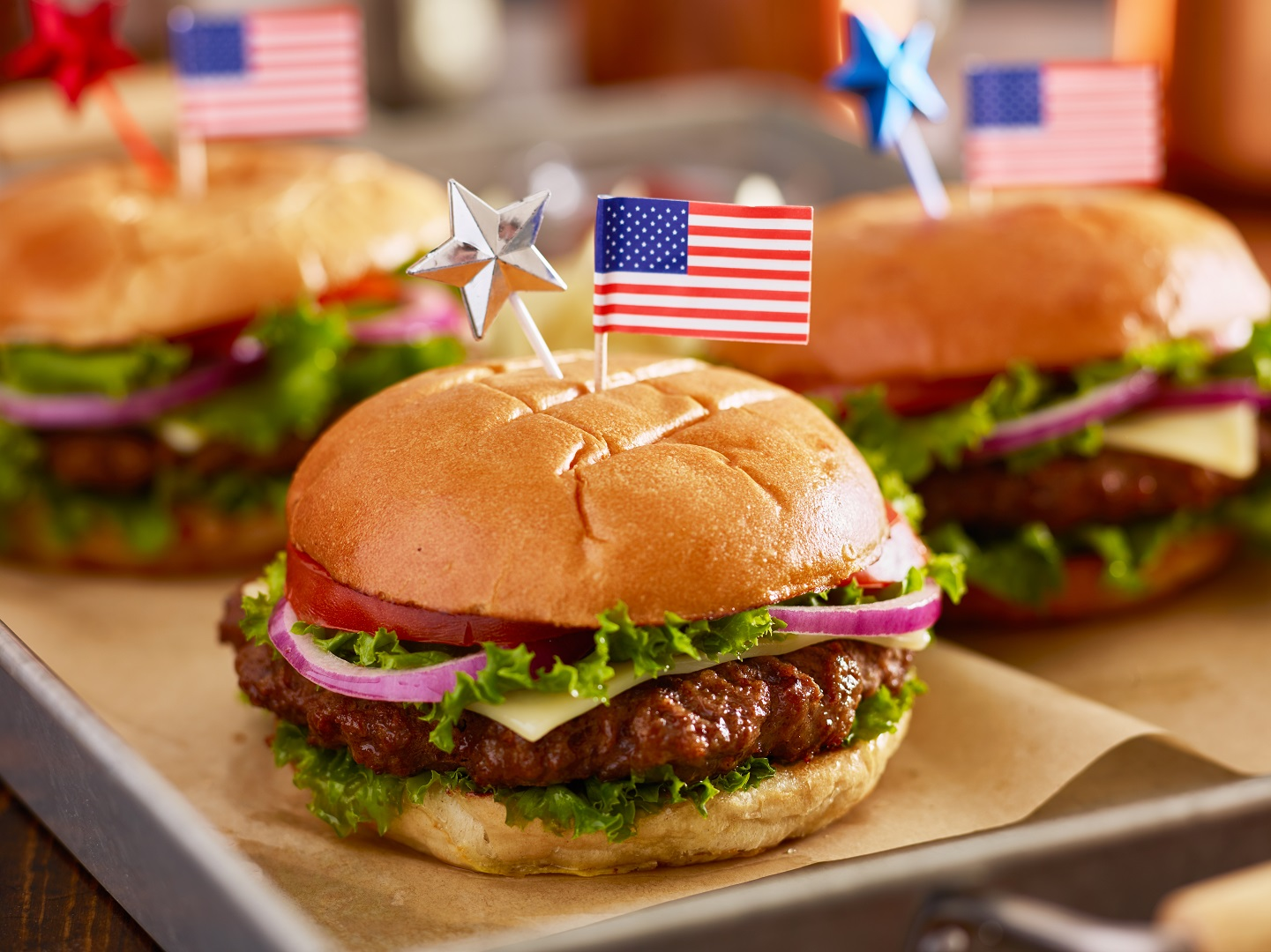 Burgers with American Flag and Stars Toothpick Decoration