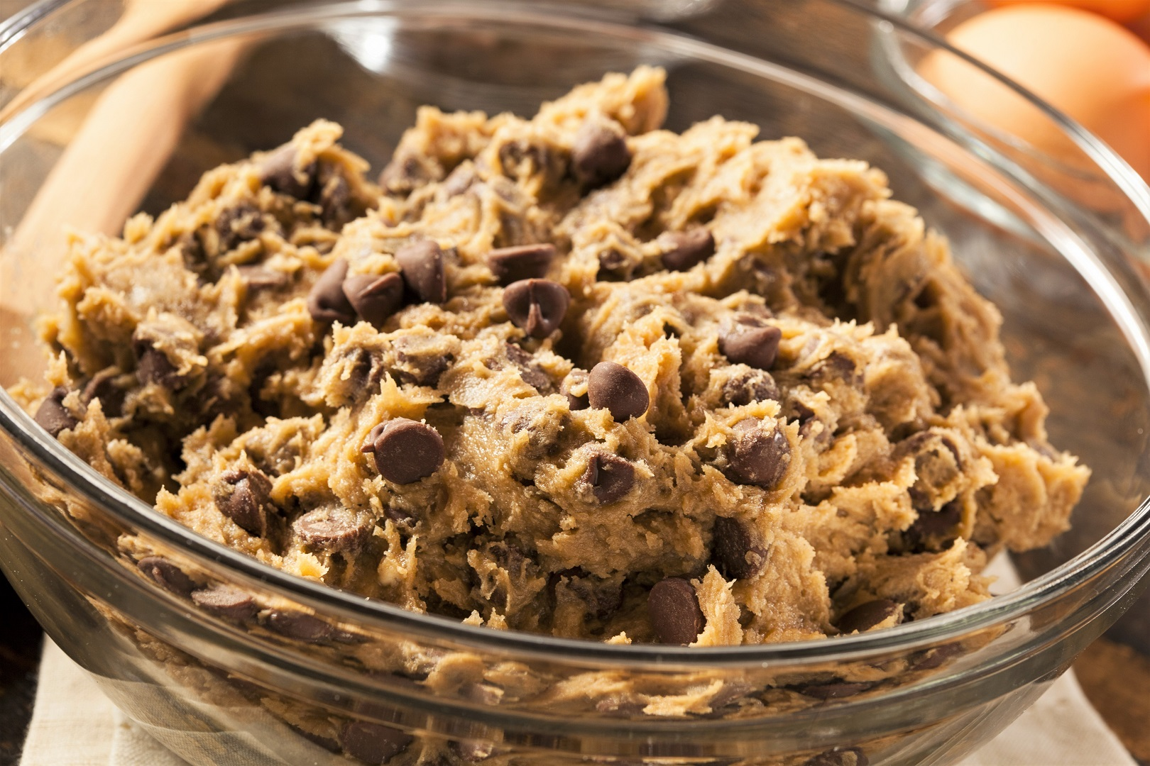 Raw Chocolate Chip Cookie Dough in Bowl