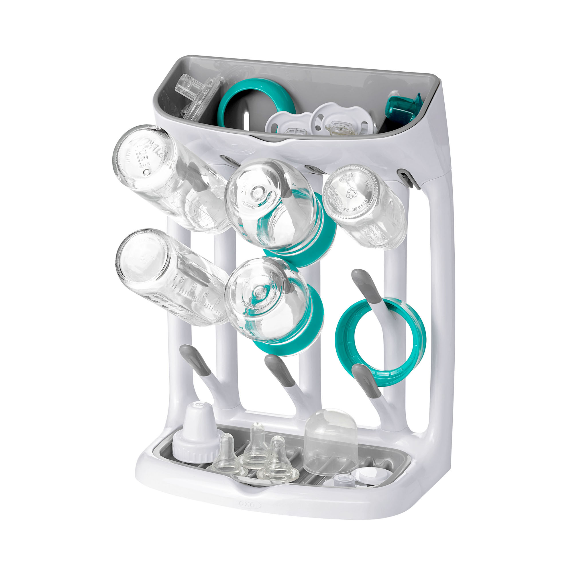 oxo tot saving drying rack with bottles and pacifiers