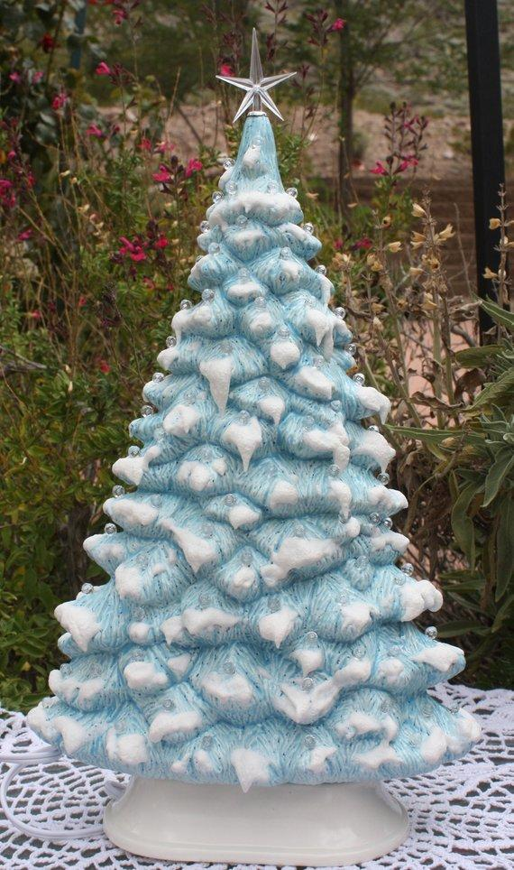 Ceramic Christmas Tree 17-inch Blue Ceramic Tree