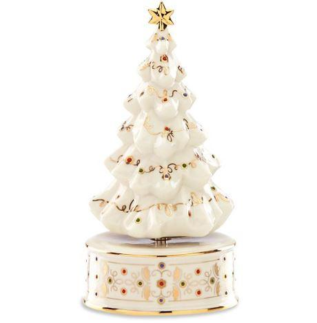 Ceramic Christmas Tree Musical Figurine White Lenox