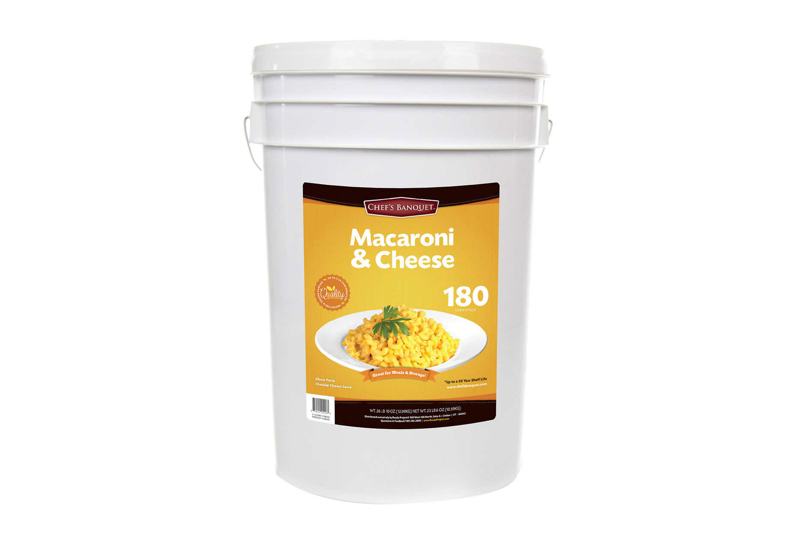 Costco Is Selling a 27-Lb. Bucket of Mac and Cheese with a 20-Year Shelf Life