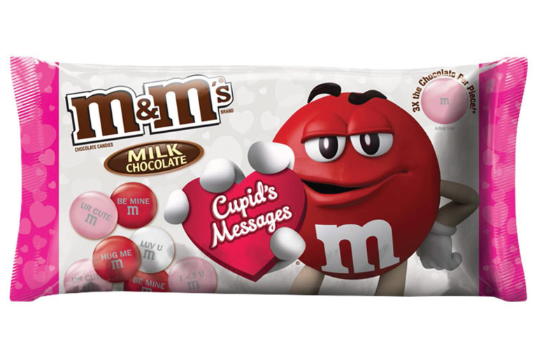 M&Ms Milk Chocolate Candy Cupids Messages