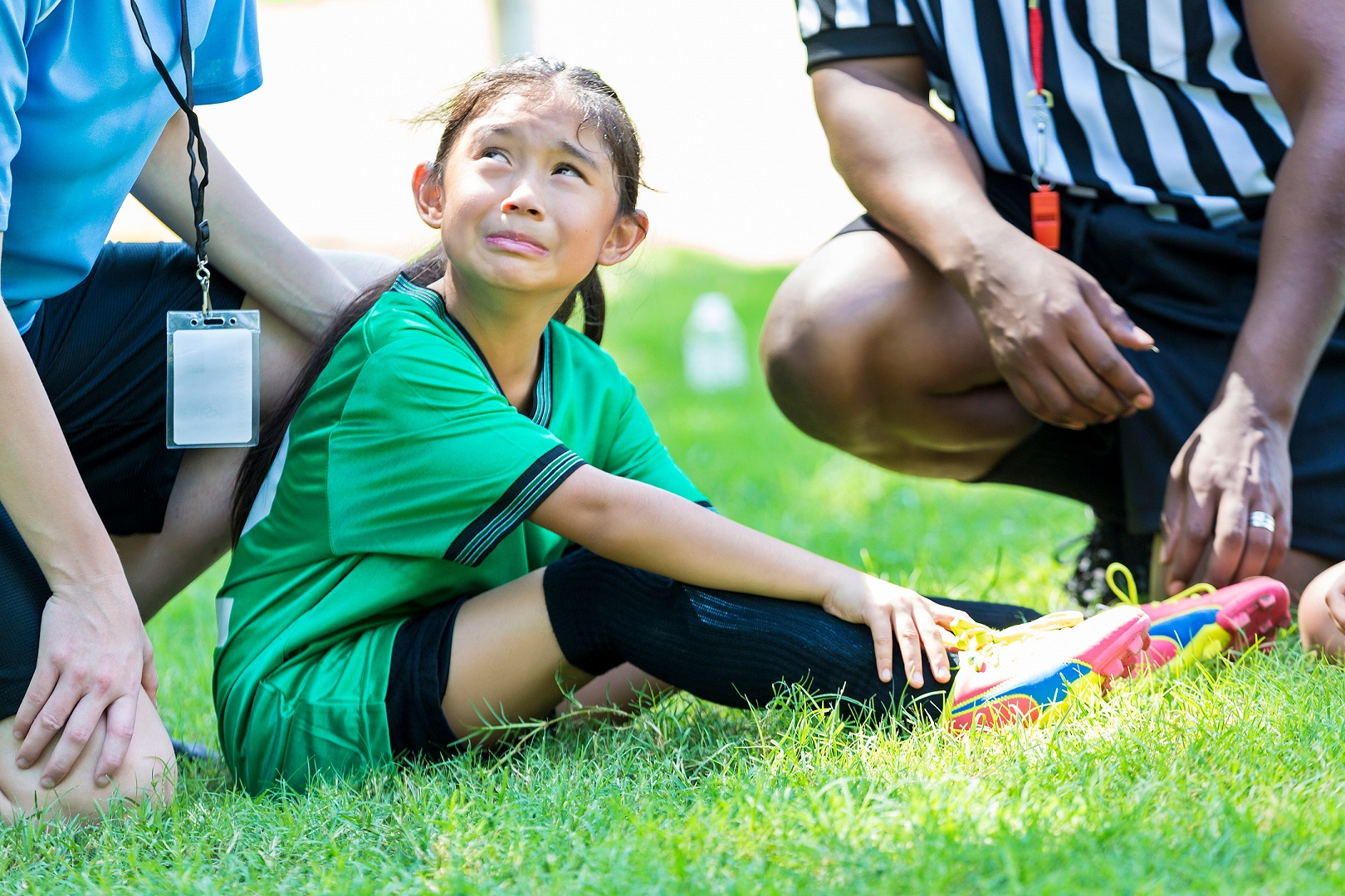 Young Asian Girl Crying Ankle Pain Soccer Injury