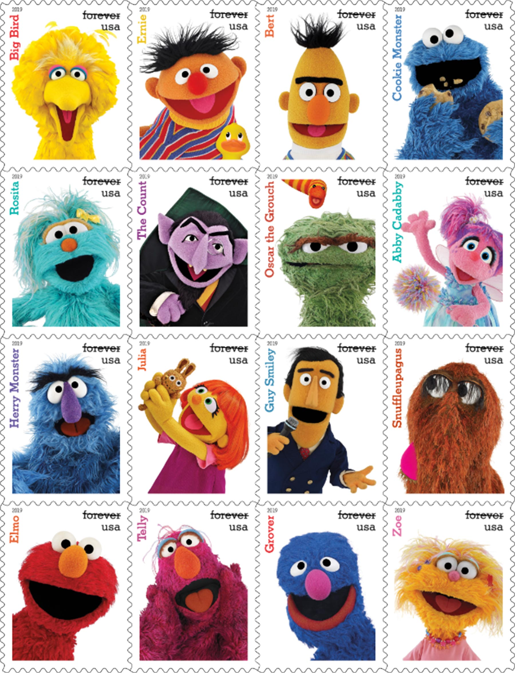 USPS to Release Sesame Street Stamps for Series' 50th Anniversary — See the 16 Familiar Faces