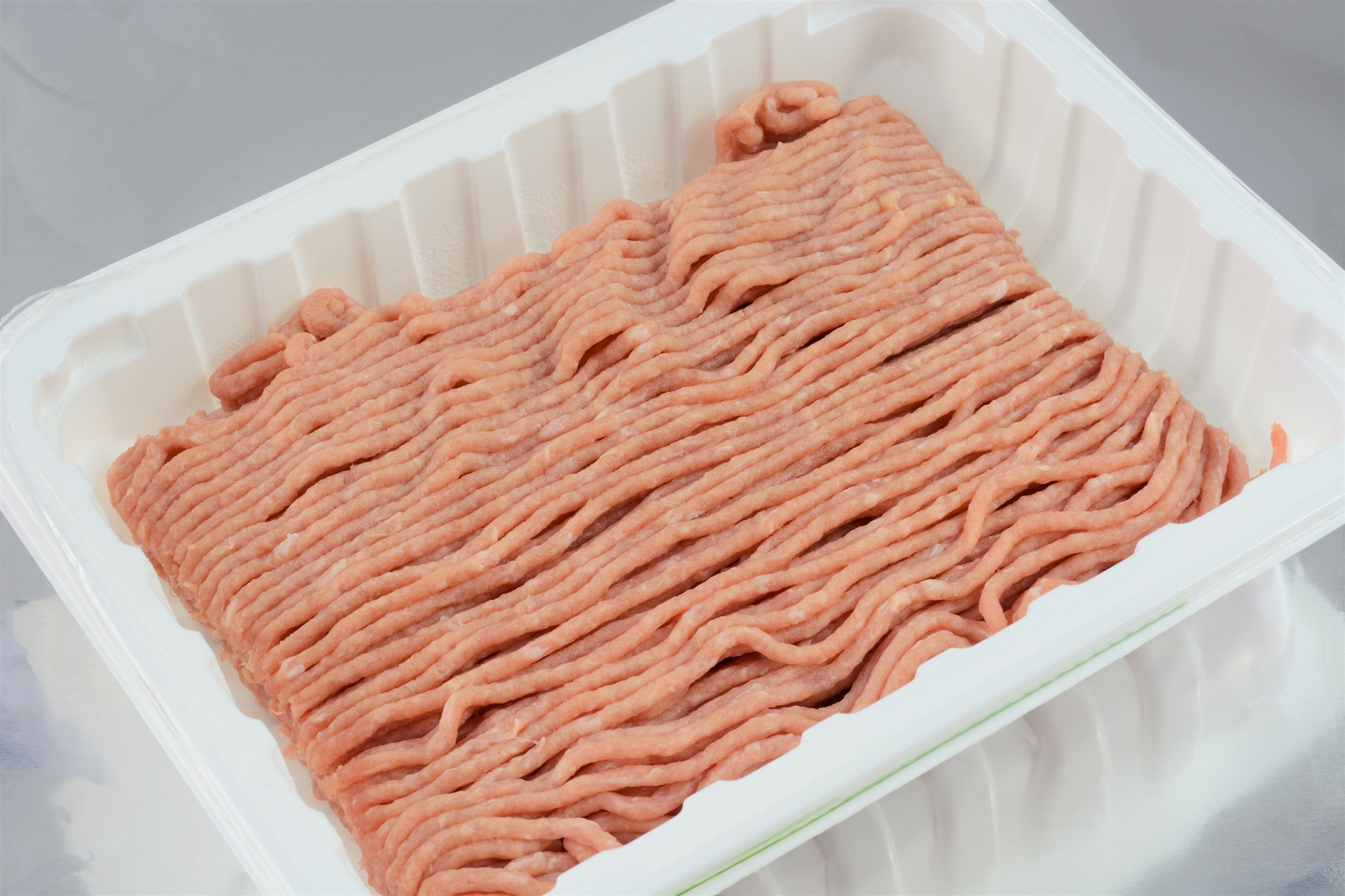 Raw Ground Turkey In White Tray