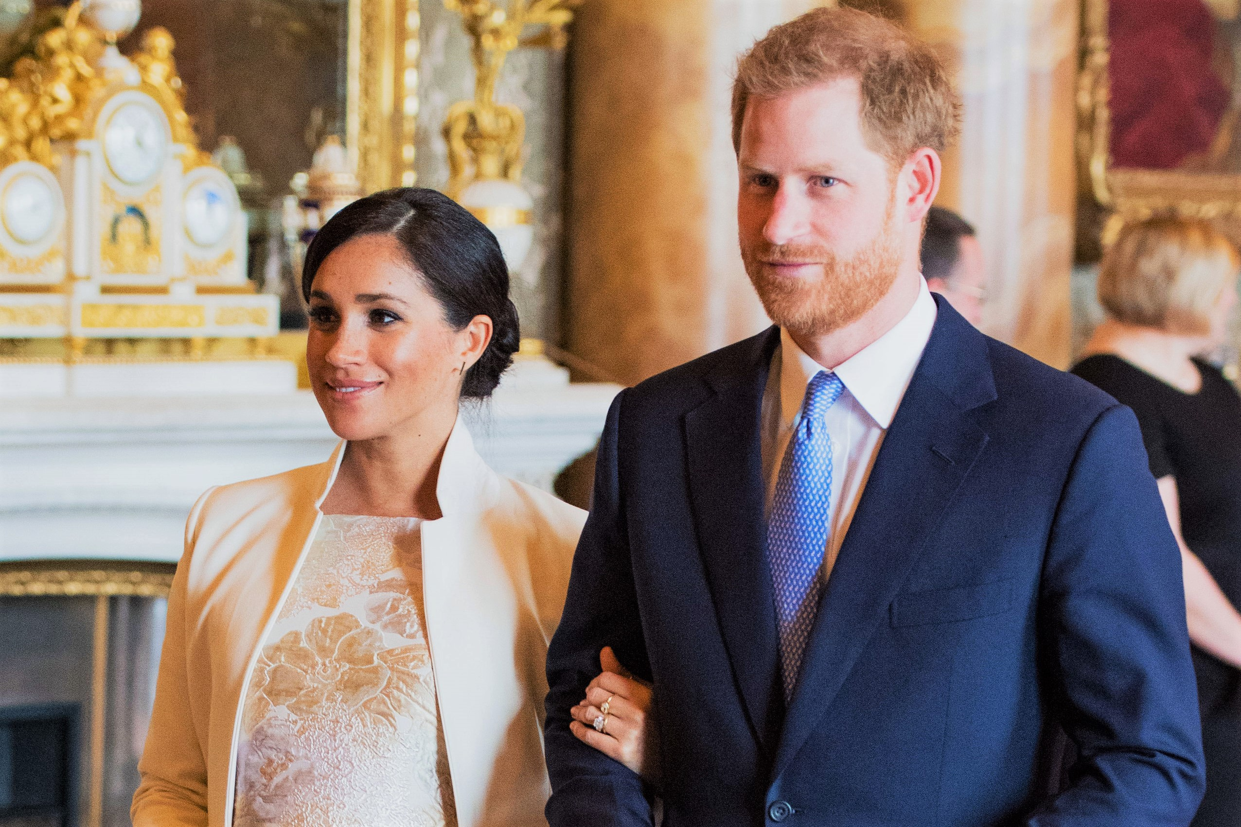 Pregnant Meghan Markle Holding Husband Prince Harry