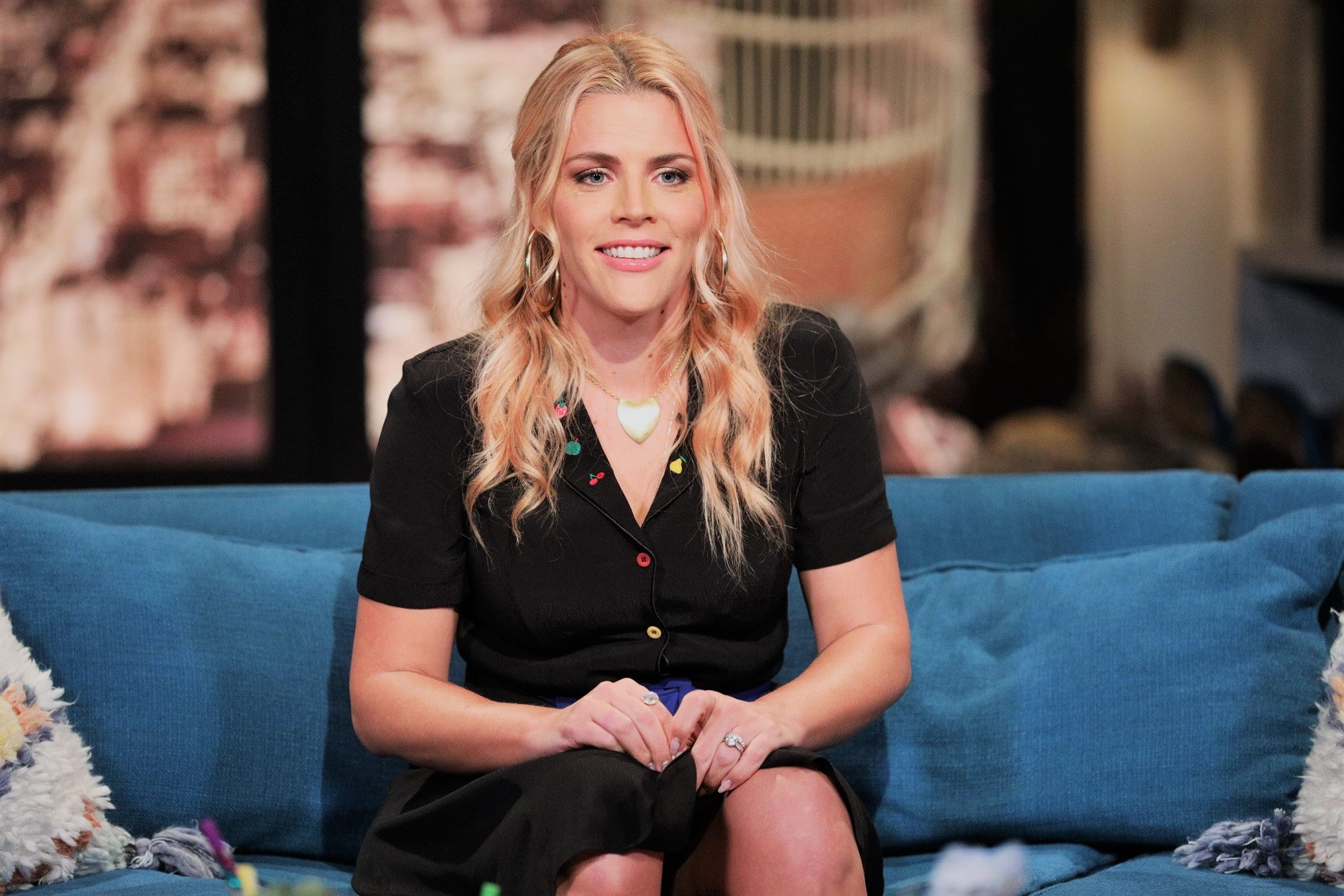 Busy Philipps Black Dress on Set of Busy Tonight Show