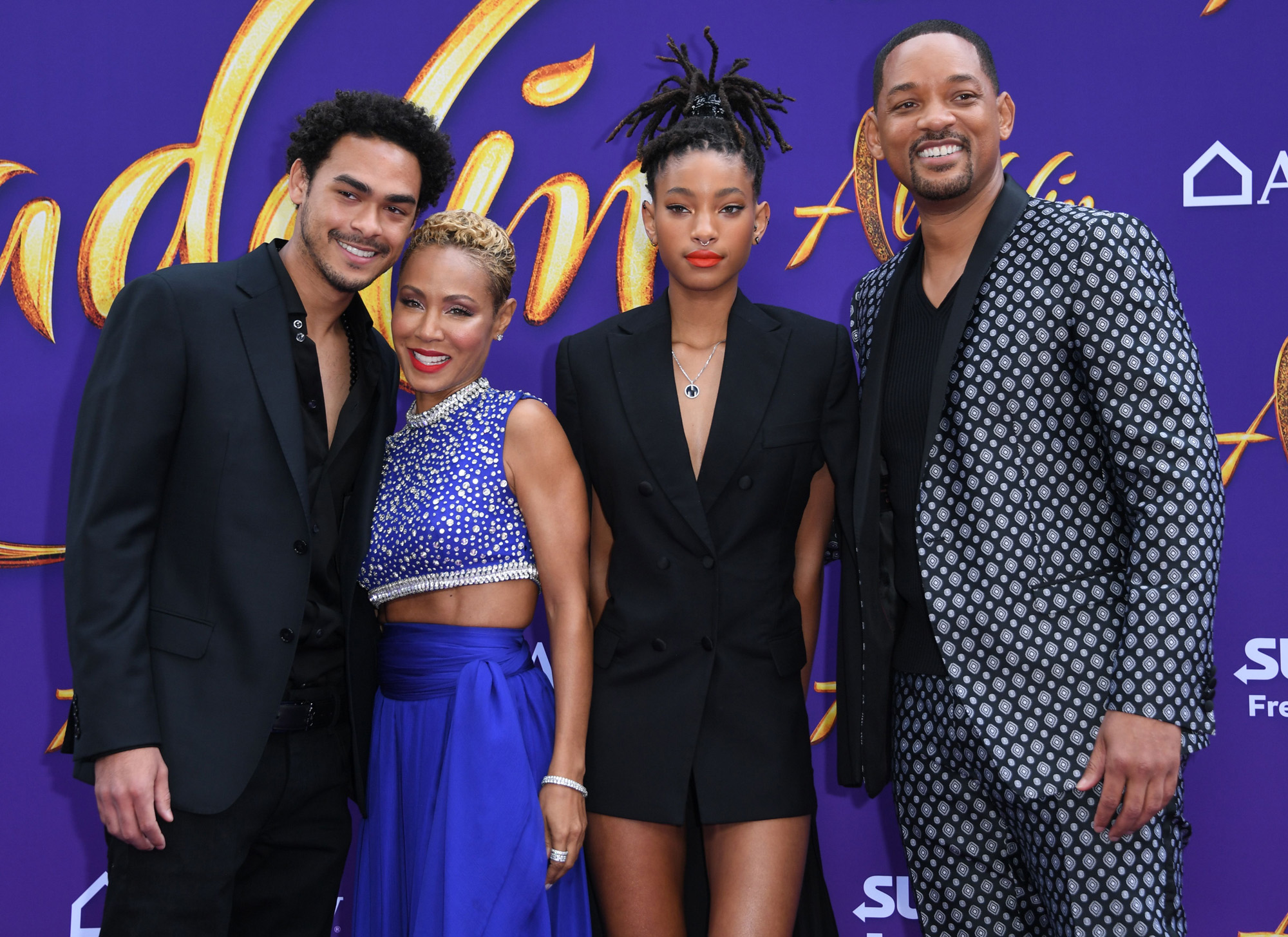 Trey Smith Jada Pinkett Smith Willow Smith and Will Smith Family Aladdin Movie Premiere