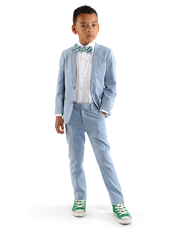 Boy in blue suit