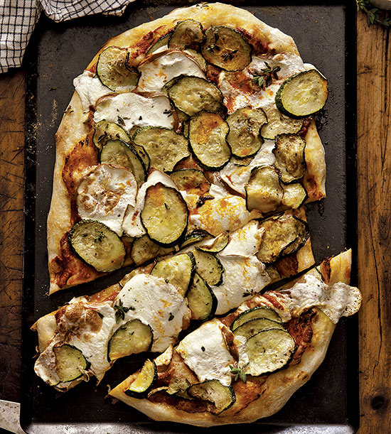 Pizza with Zucchini and Smoked Mozzarella