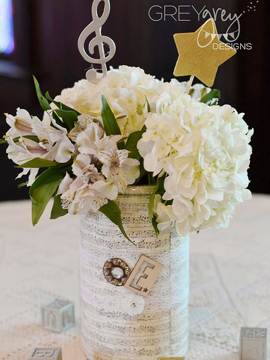Musical Metal Cookie Container Centerpieces