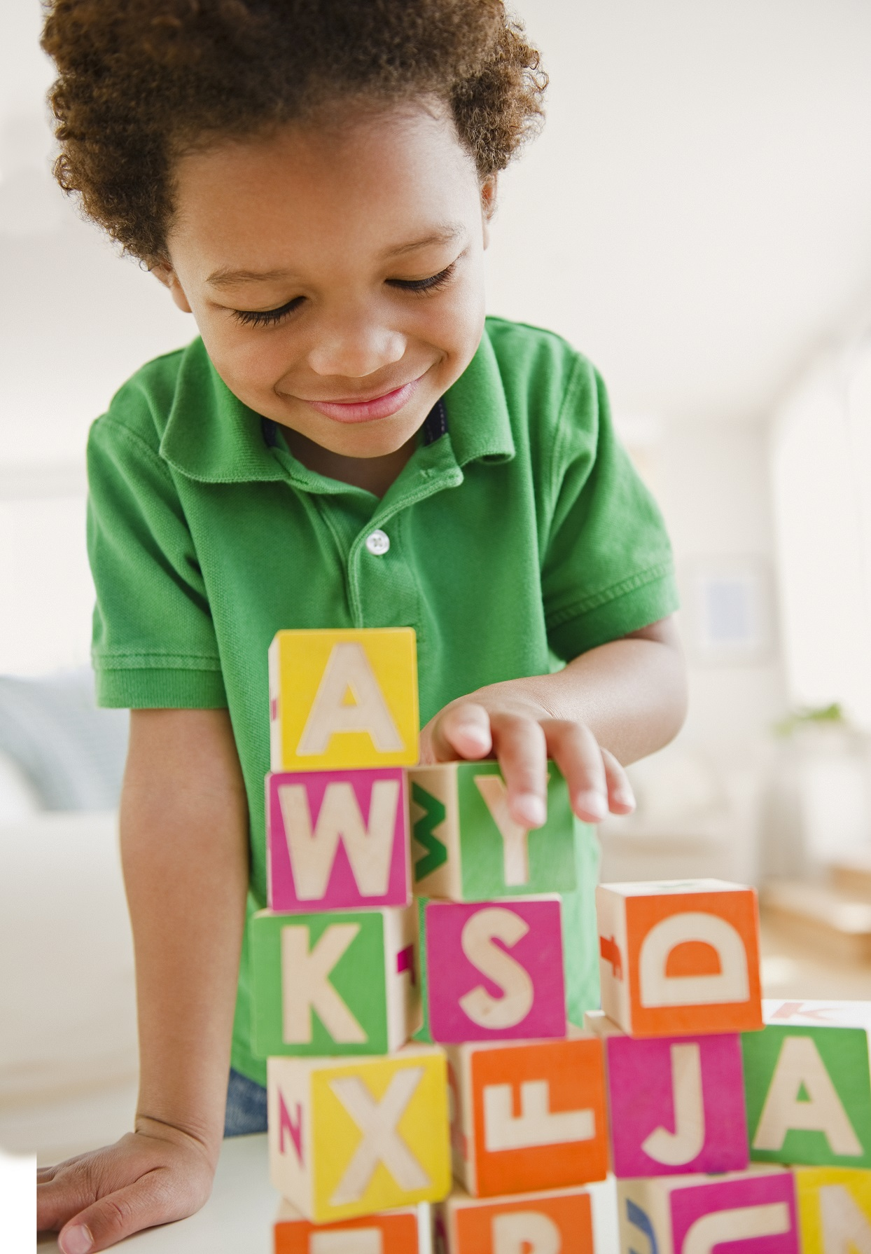 Black Boy Playing With Letter Blocks 102211204