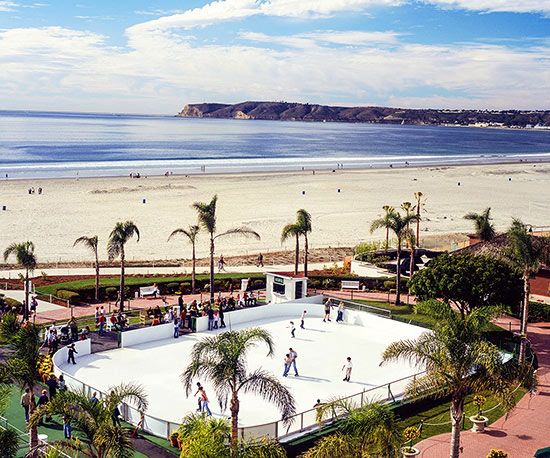 Aerial view of Hotel del Coronado ice rink