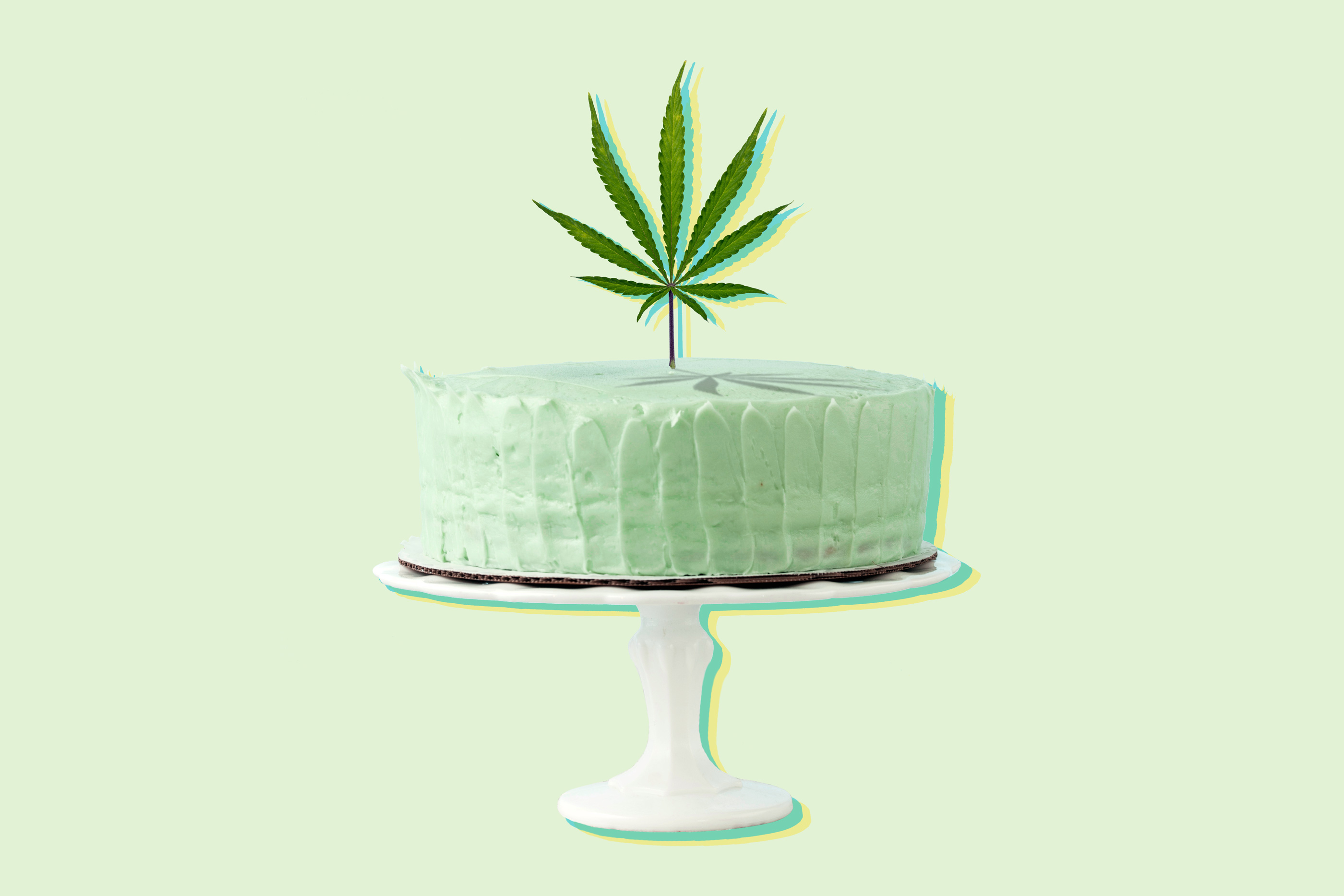 Green Marijuana Cake Photo Illustration