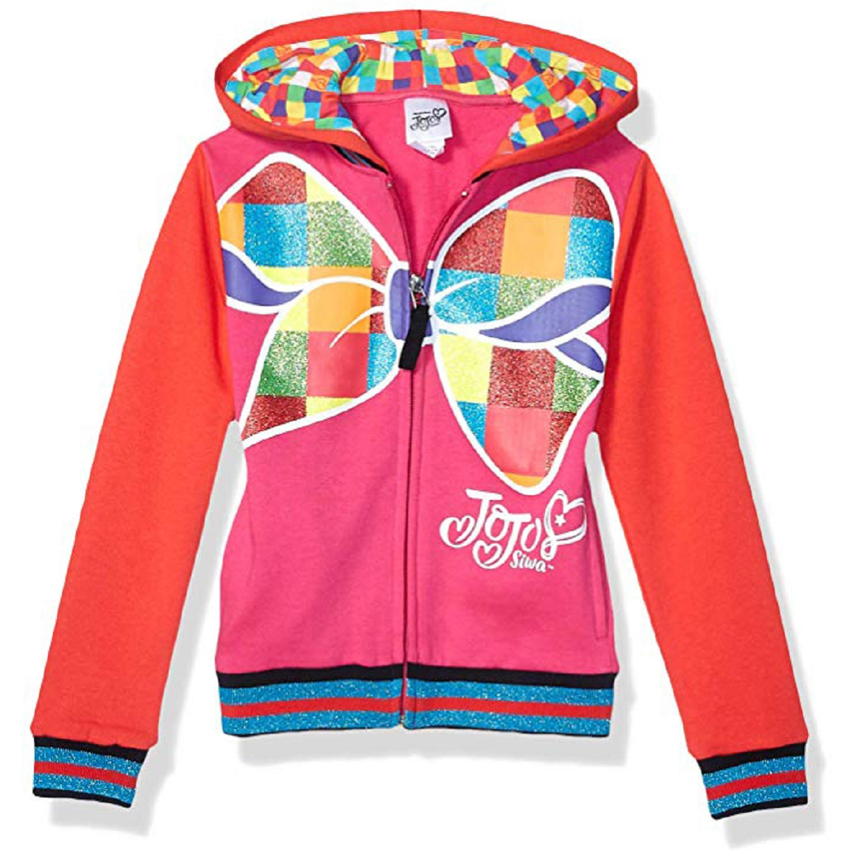 JoJo Siwa Girls Little Big Bow Zip Up Athletic Hoodie