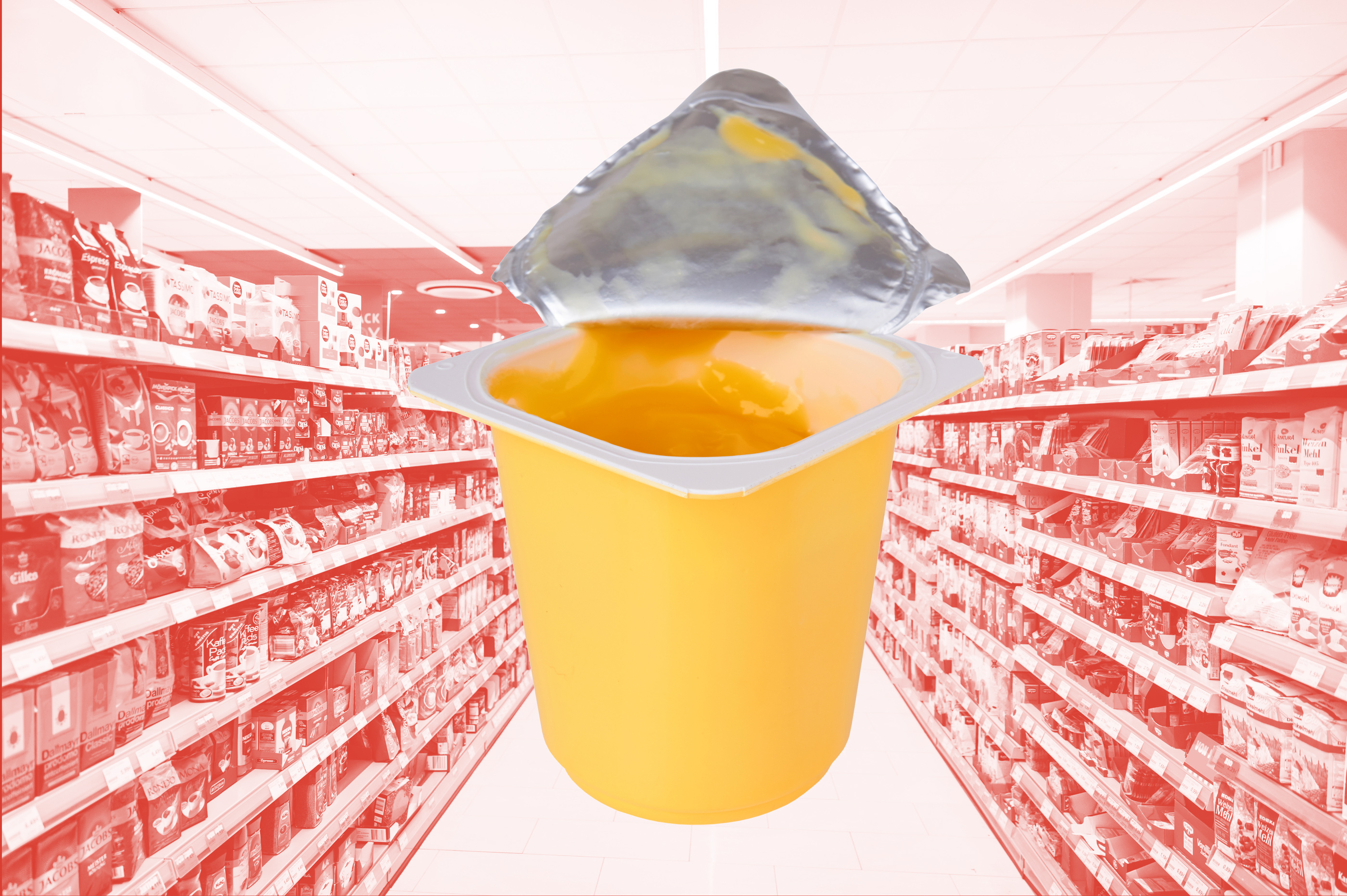 photo illustration of opened yogurt on top of grocery store aisles