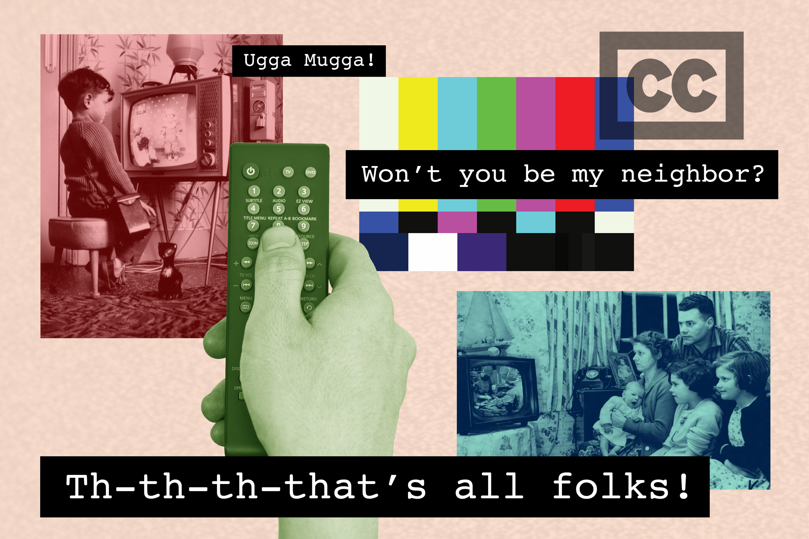 photo illustration of families watching tv with various closed captions