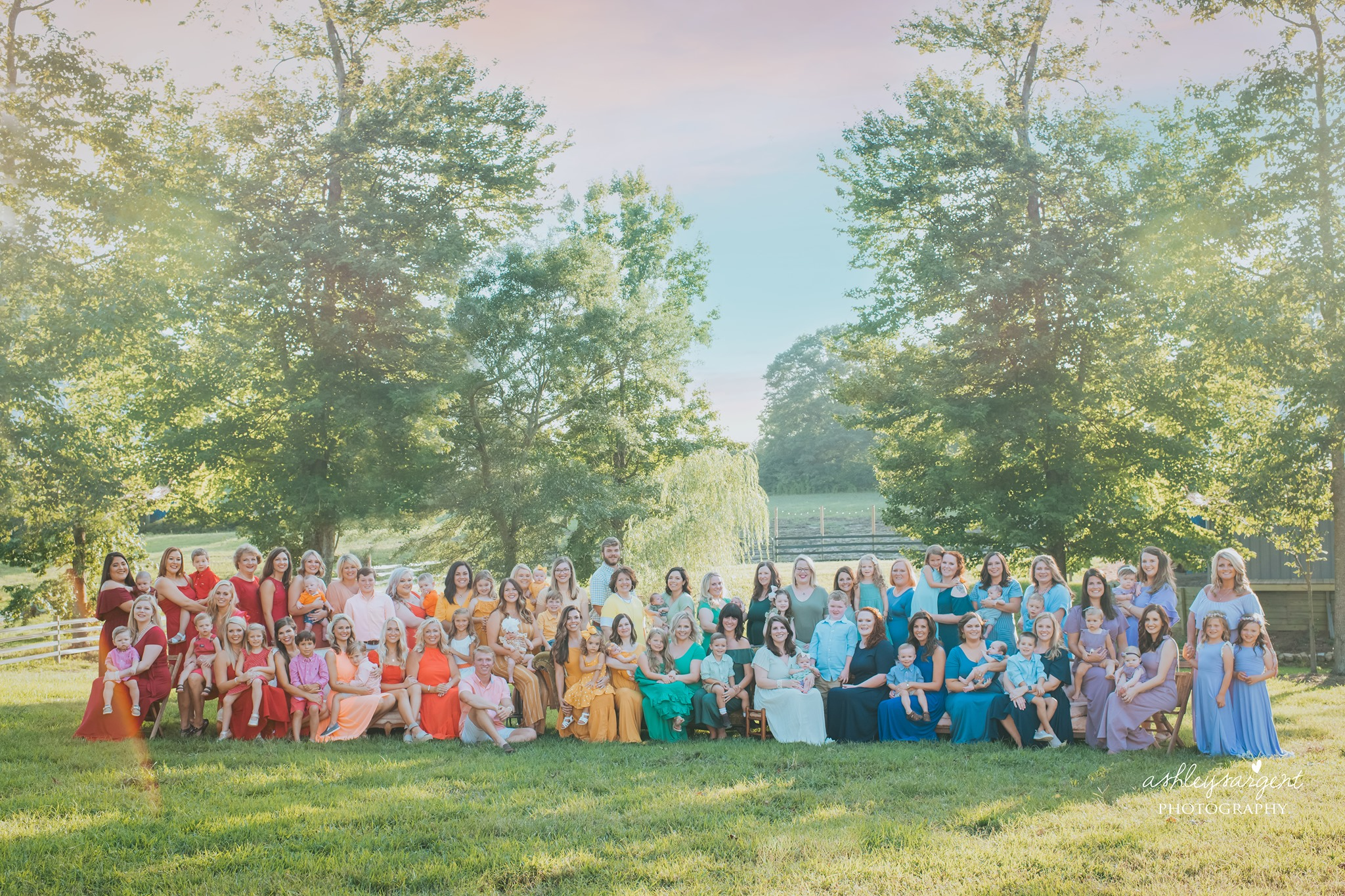 Dozens of Moms and Their Rainbow Babies Pose For a Colorful Photo Shoot