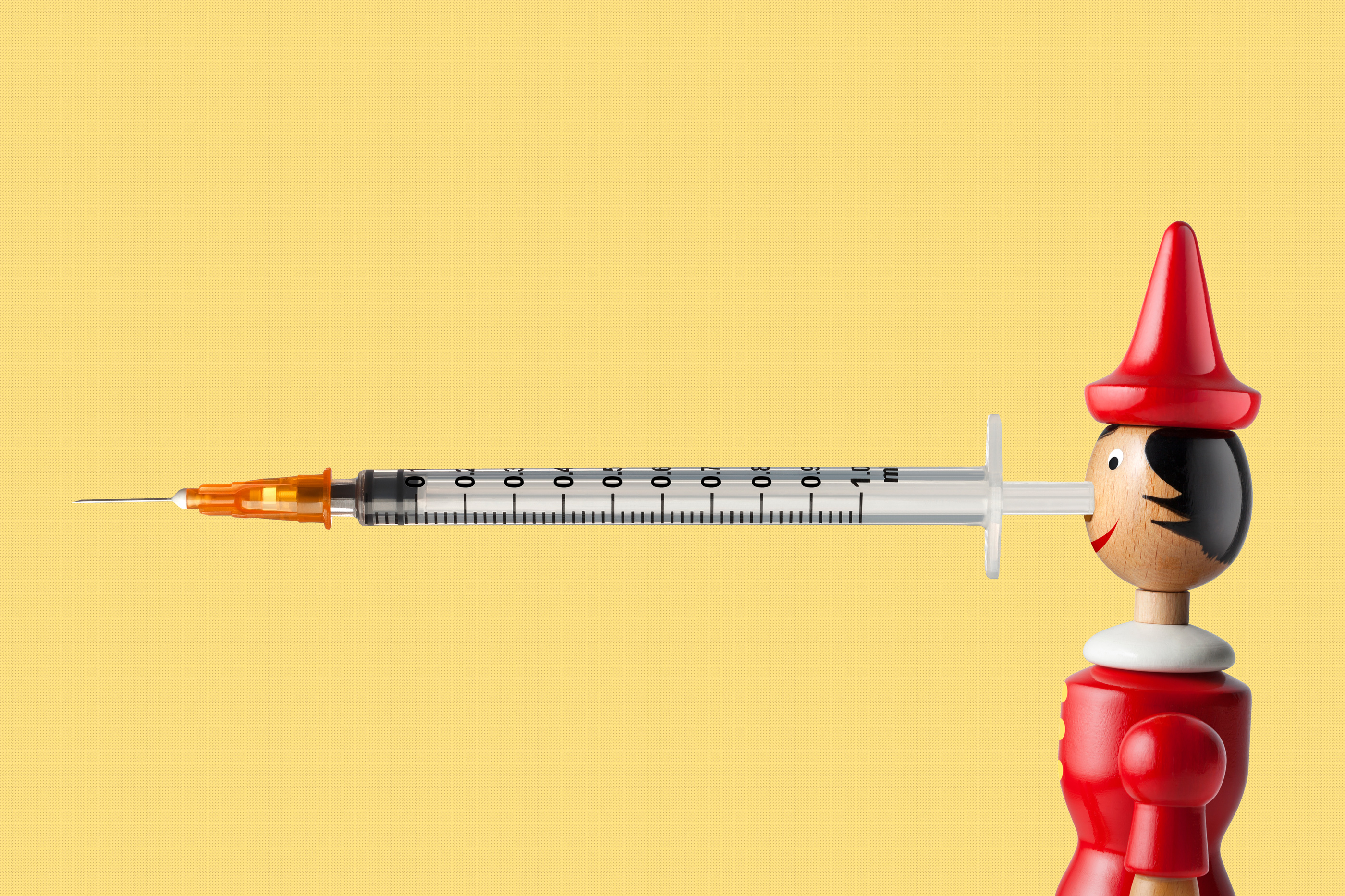 Pinnochio with syringe nose