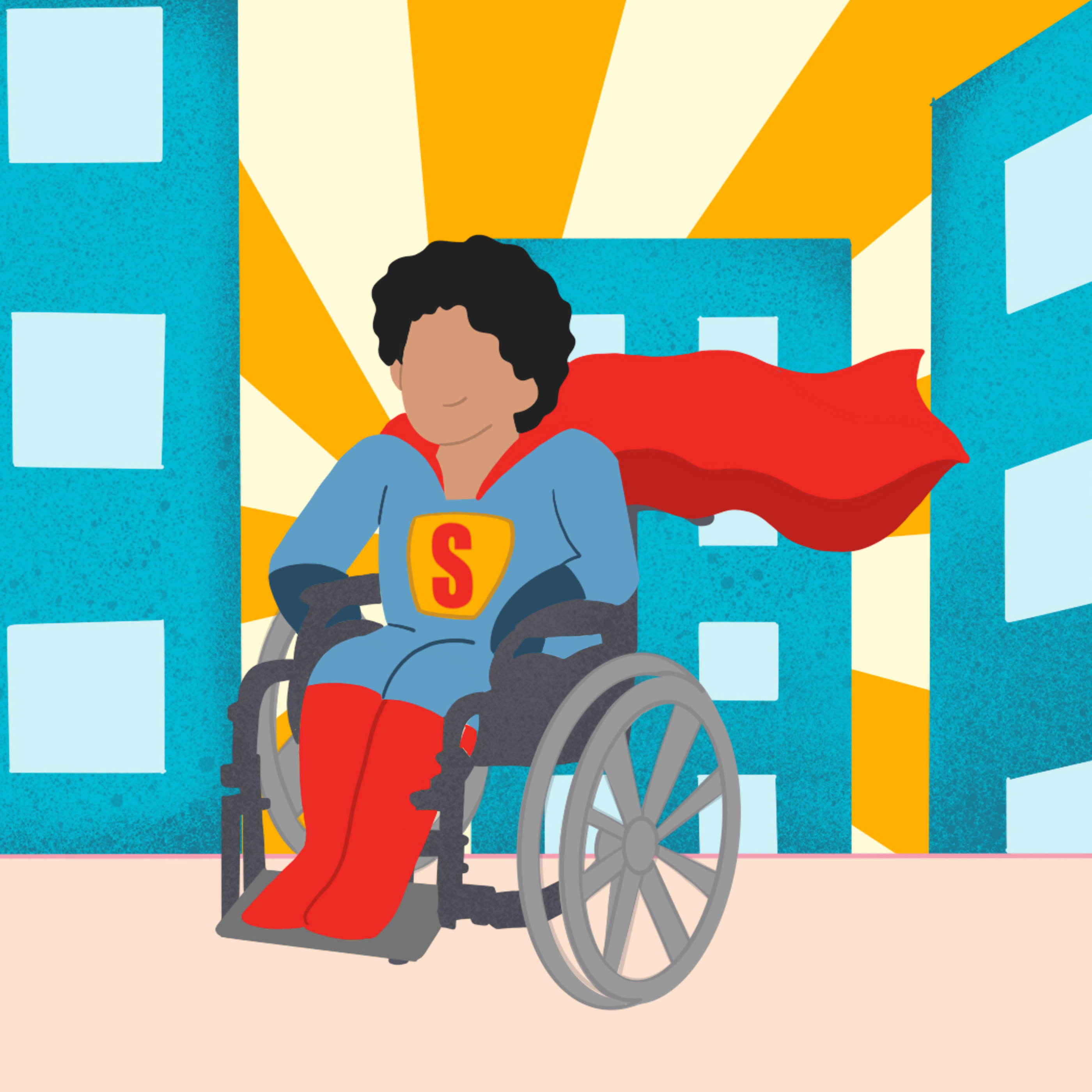 illustration of superhero kid in wheelchair