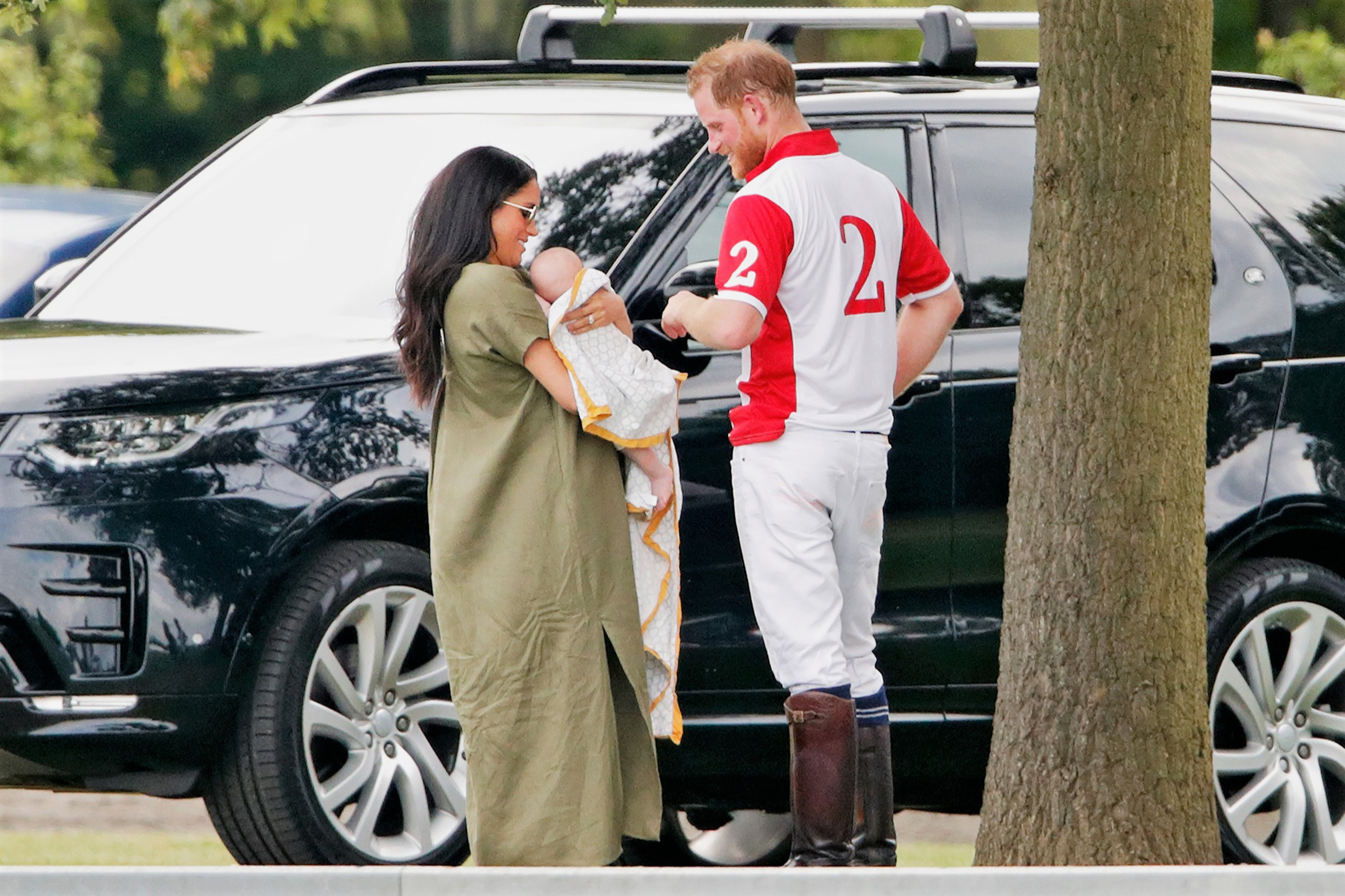Meghan Markle, Prince Harry and Archie at a charity polo match