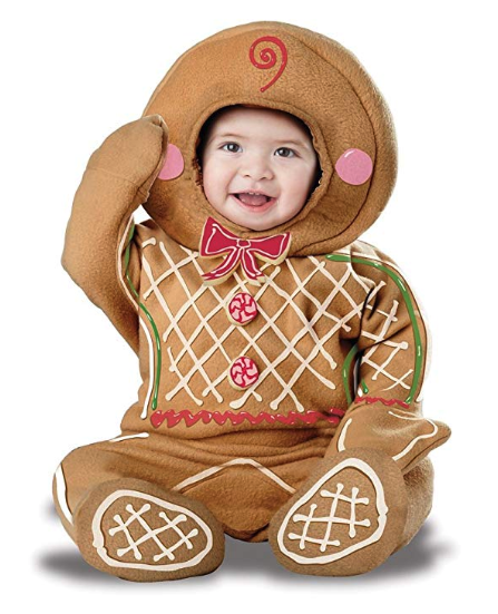 Christmas comes early with this cute baby Halloween costume! The hooded jumpsuit is extra comfortable to boot.