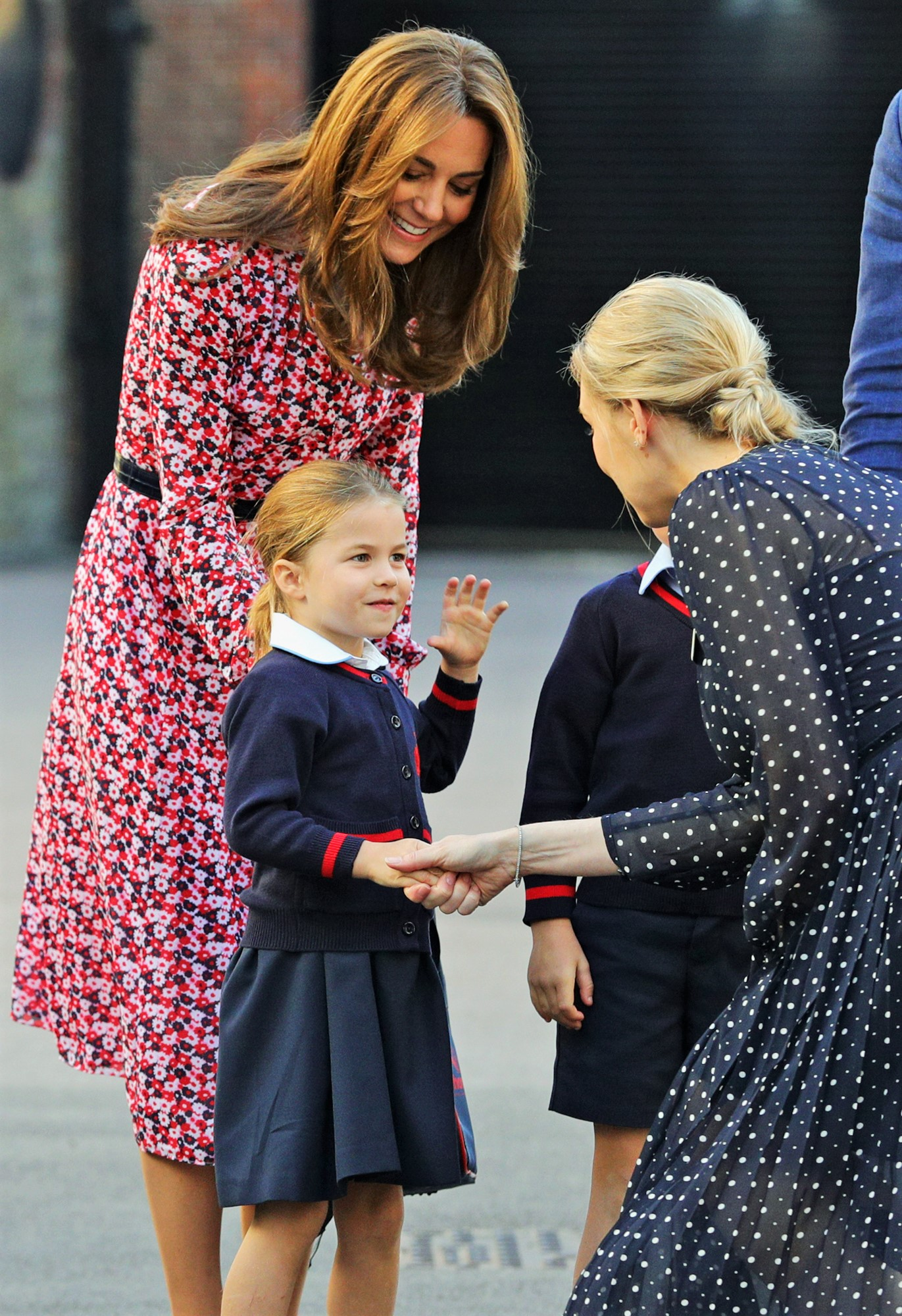 Princess Charlotte's First Day Of School Shaking Teacher's Hand
