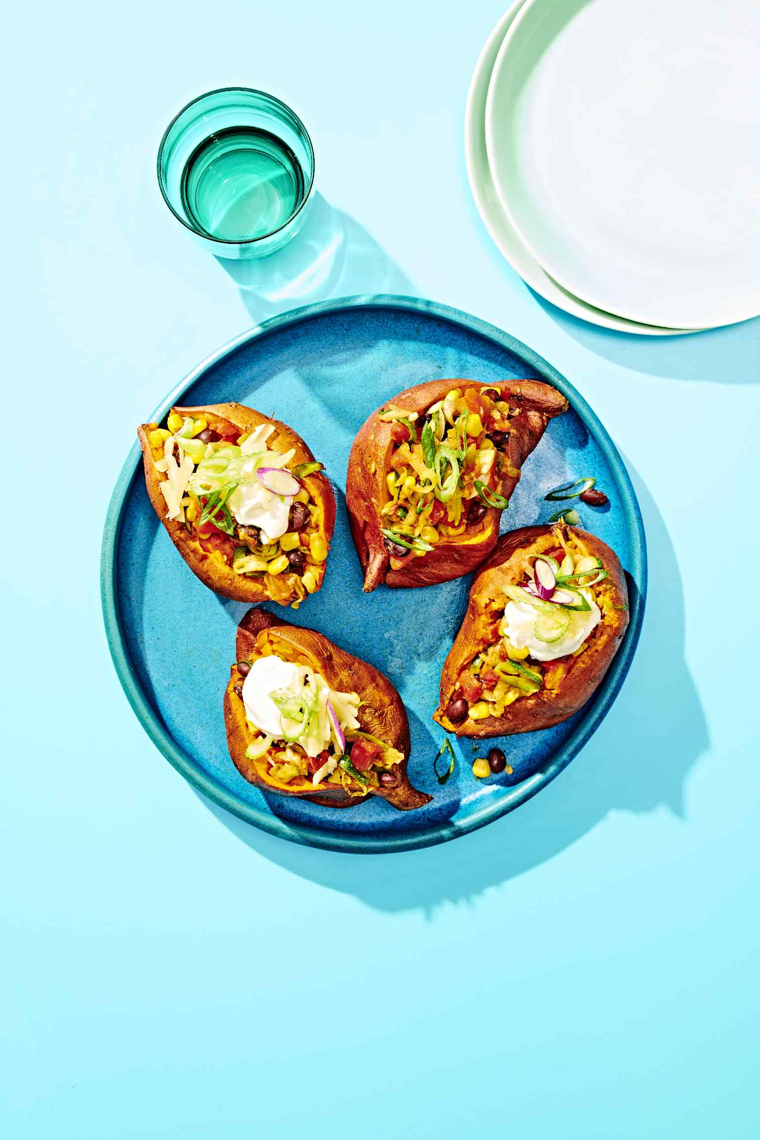 """Baked"" Sweet Potatoes with Veggie Chili"