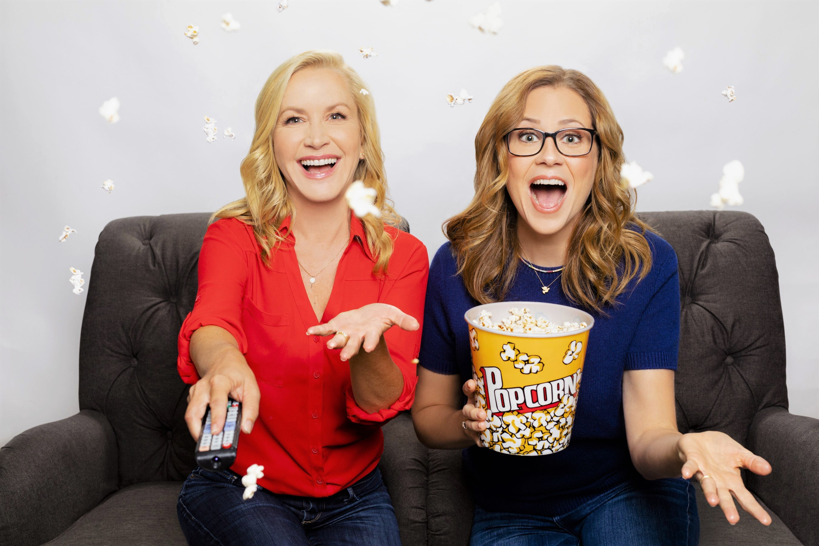 Stitcher Office Ladies Angela Kinsey and Jenna Fischer Throwing Popcorn