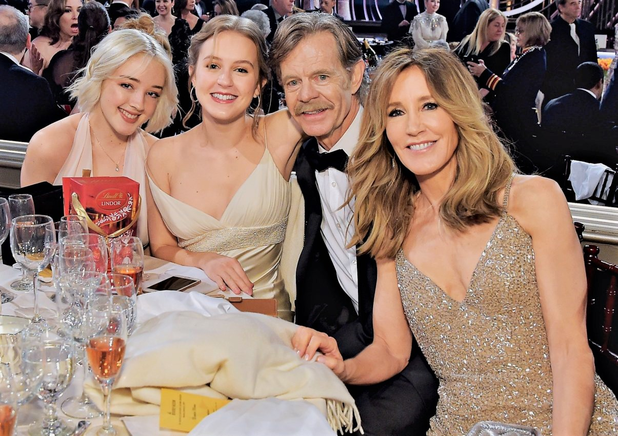 William H. Macy and Felicity Huffman with their daughters
