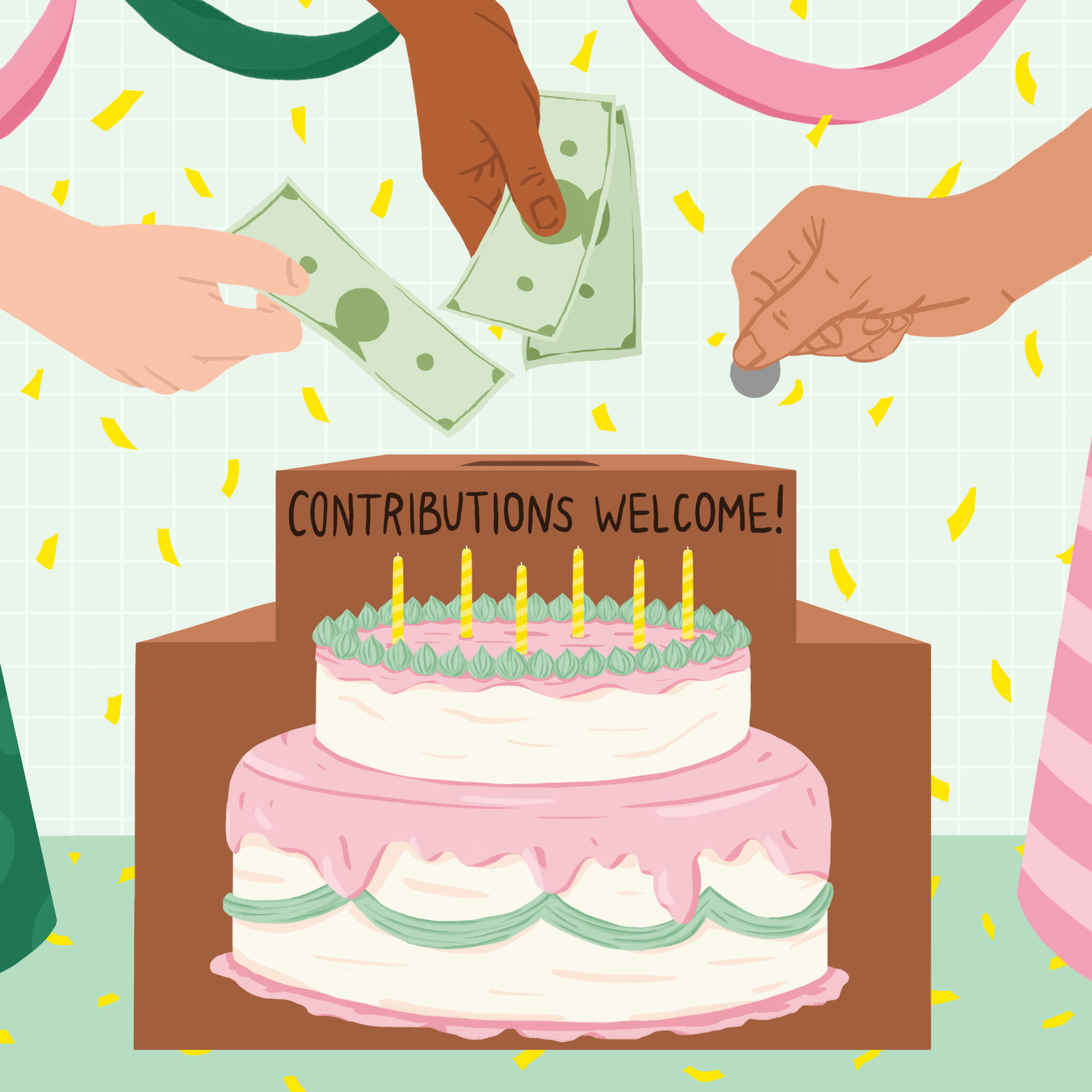 box shaped like a birthday cake with contribution slot and hands contributing money