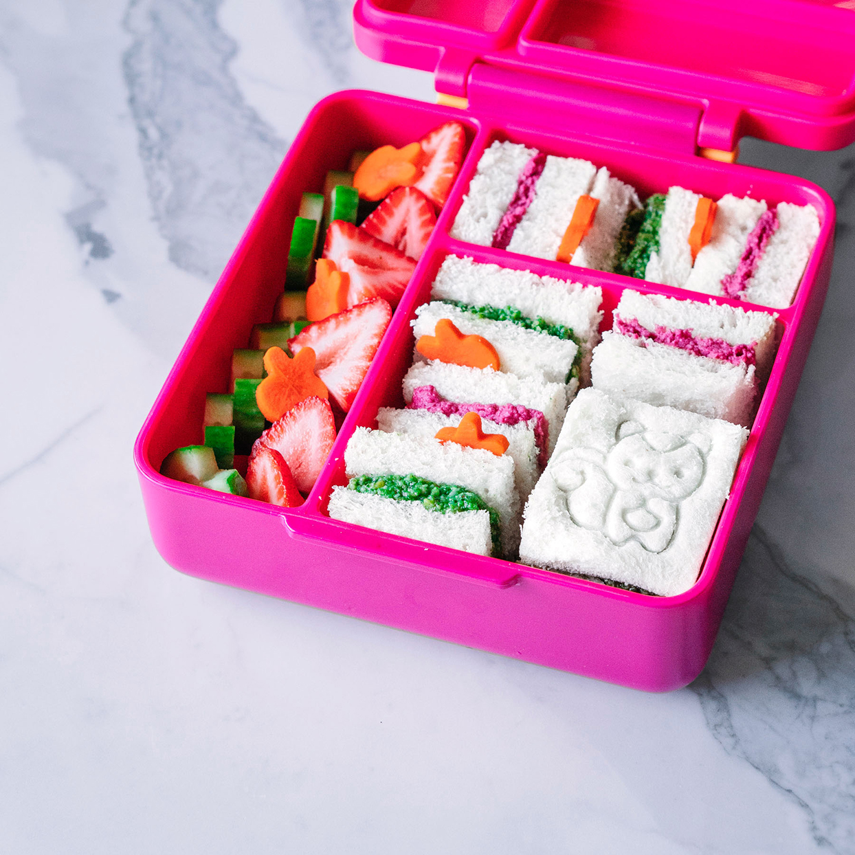 pink sandwich box with pretty lunch