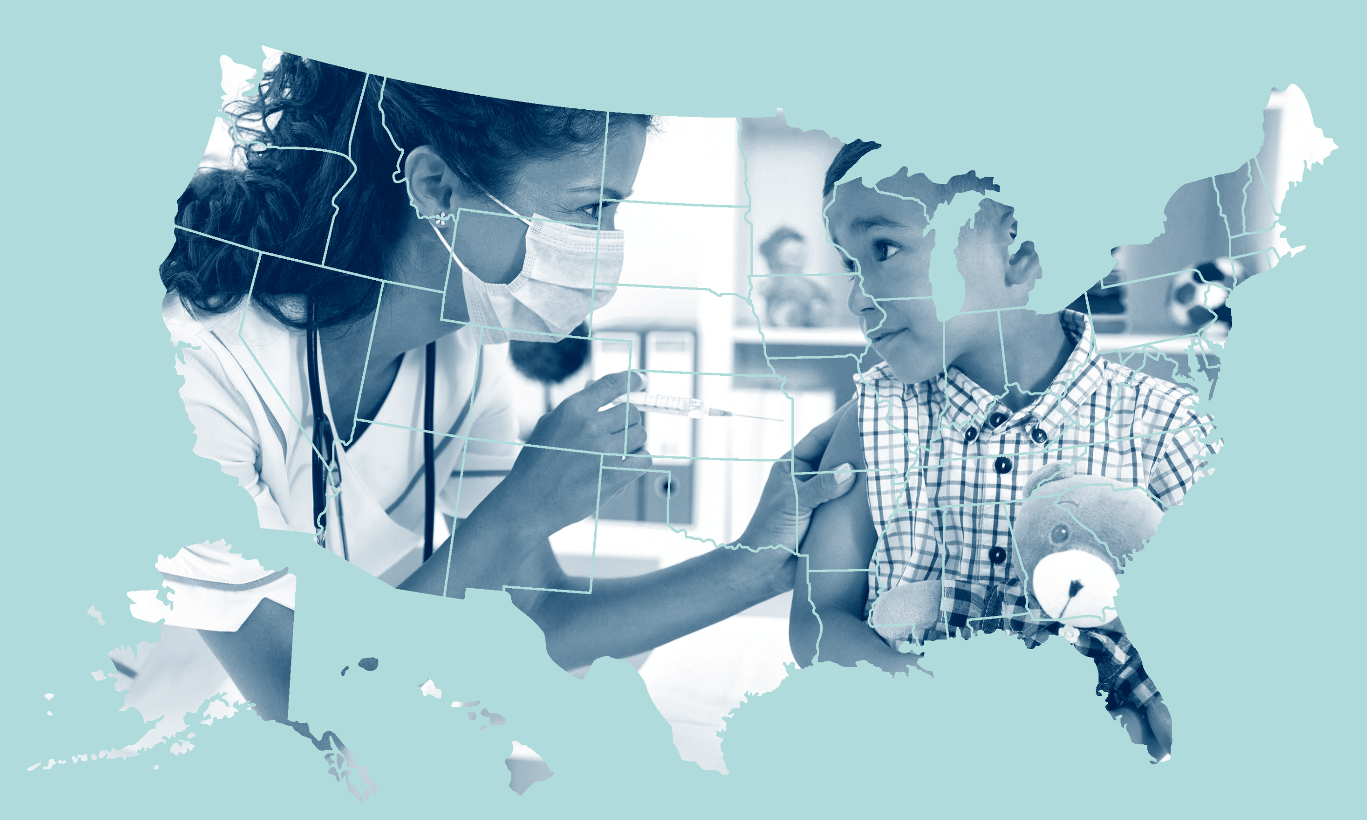 child getting vaccinated superimposed on US state map
