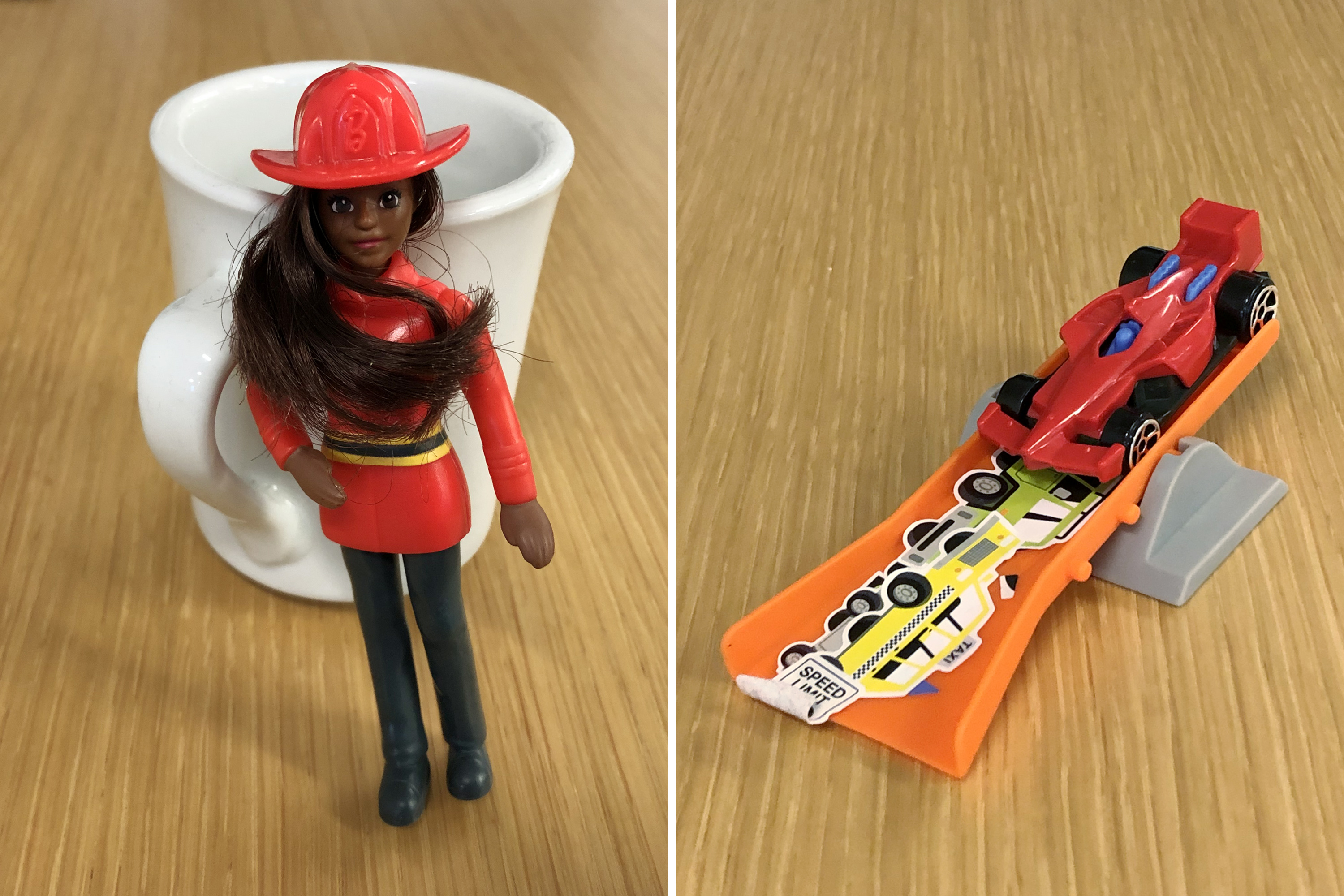 McDonald's Career Barbie Firewoman and Hot Wheels Car Happy Meal Toys
