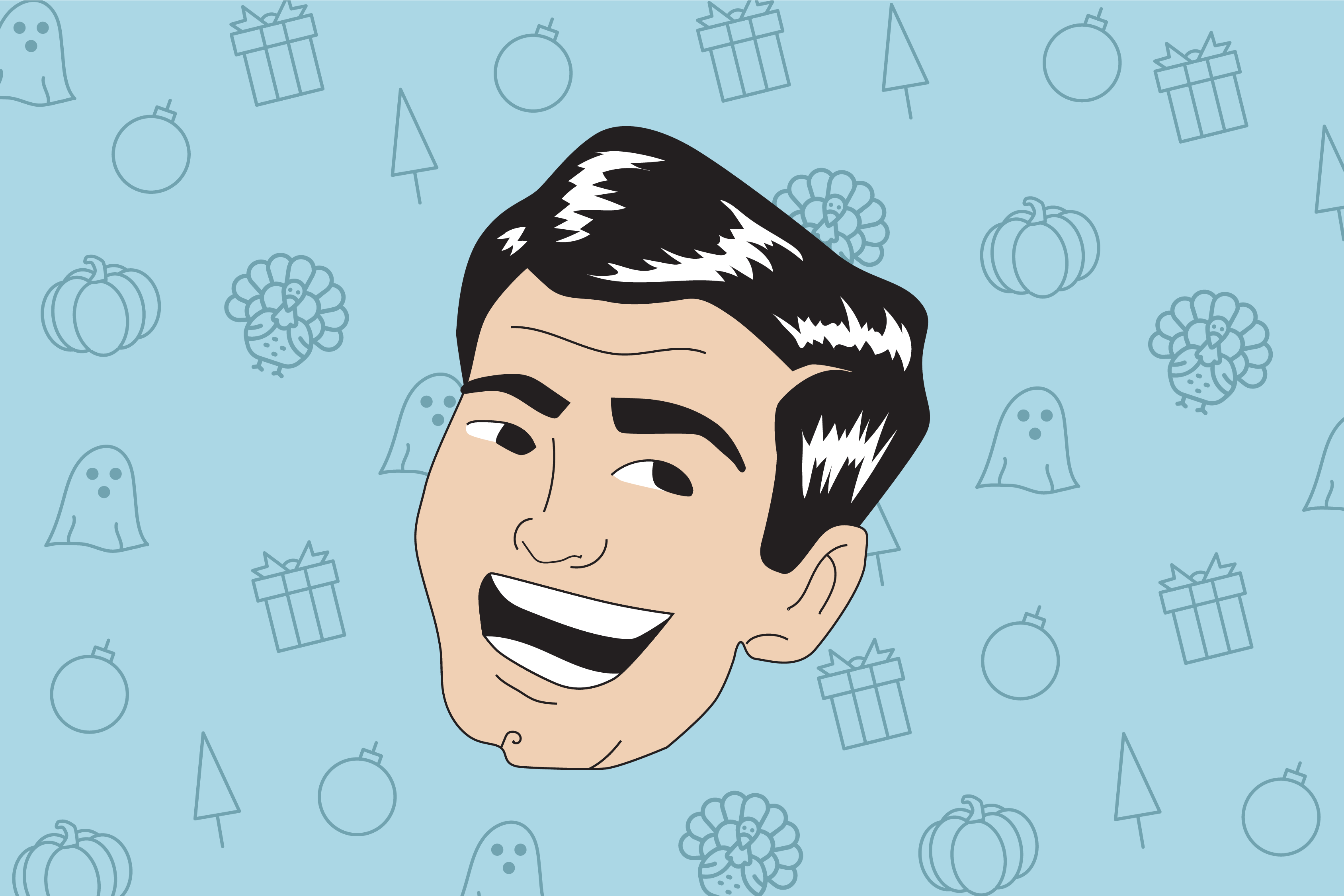 caricature of laughing dad on top of holiday icons