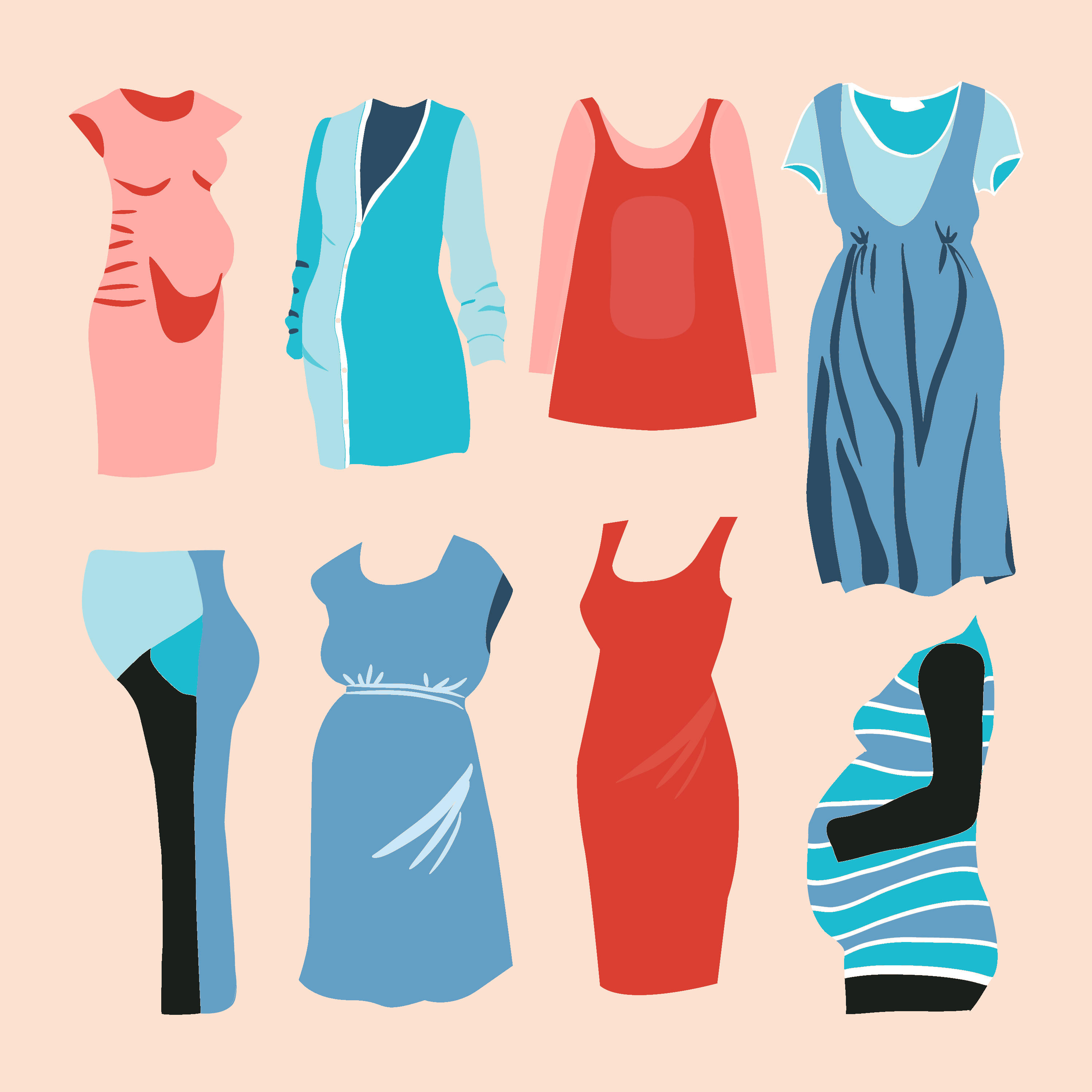 illustrations of maternity outfits
