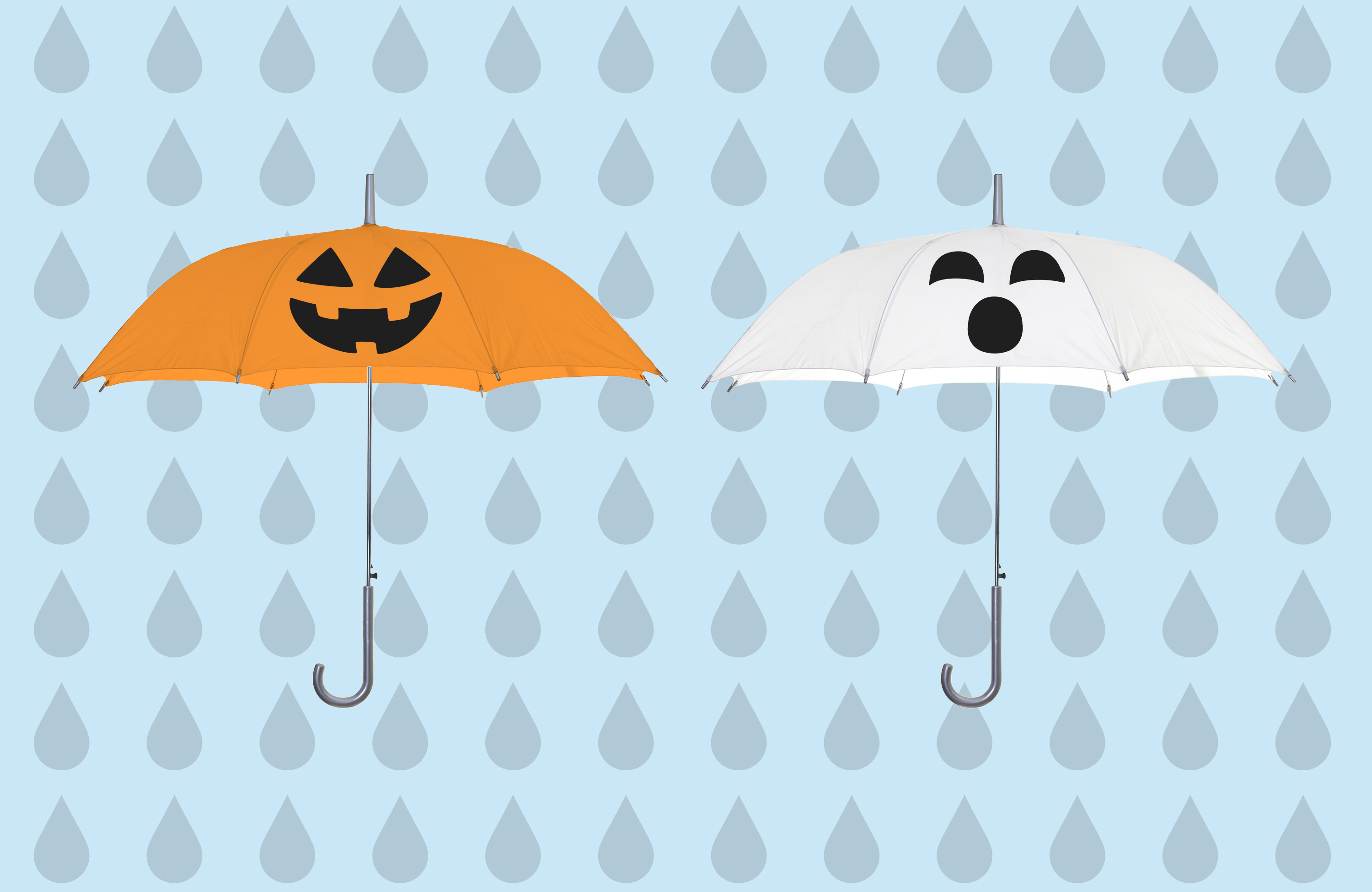 pumpkin and ghost umbrellas