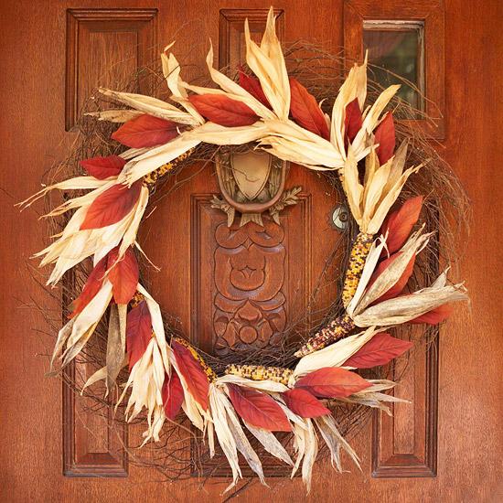 Corn and leaf wreath