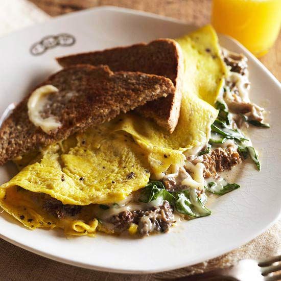 Omelet with Morel Cream Sauce
