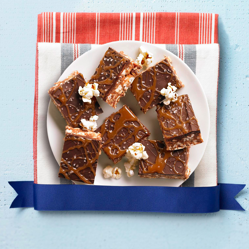 Caramel and Chocolate Kettle-Corn Crispie Bars