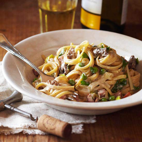 Spring Pasta with Morels, Ramps and Peas