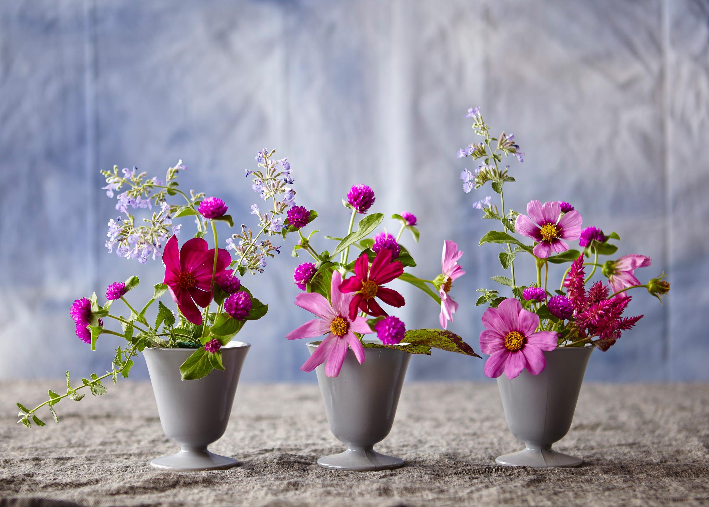 Three in a row flower arrangement