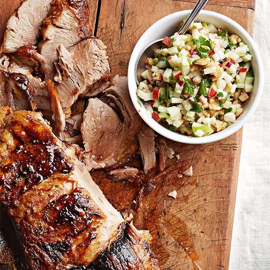Roasted Pork with Apple-Walnut Salsa