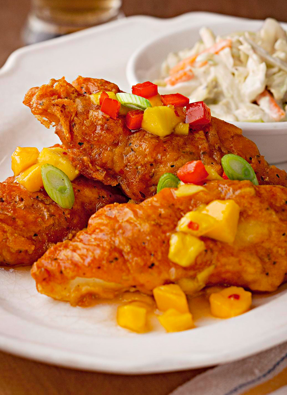 Crispy Beer-Batter-Fried Walleye with Mango Sweet-and-Sour Sauce