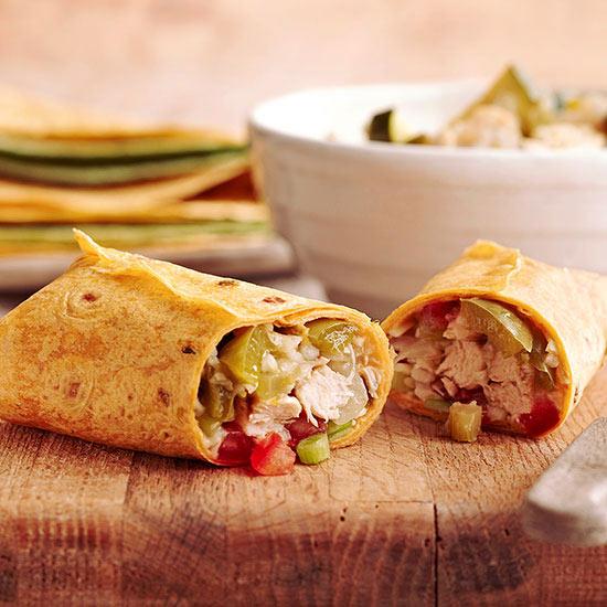 Slow-Cooker Chicken and Veggie Burritos